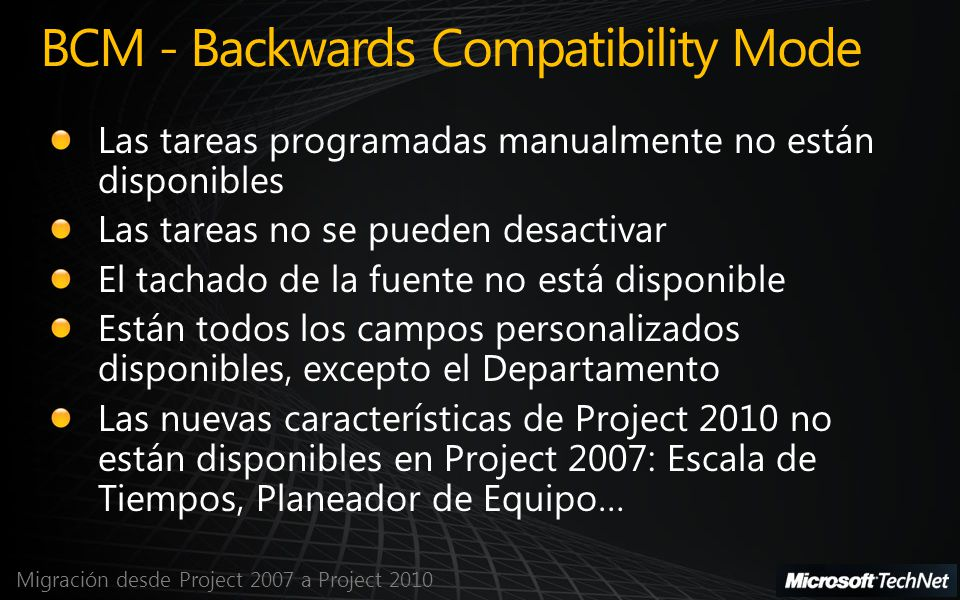 Migración desde Project 2007 a Project 2010 BCM - Backwards Compatibility Mode