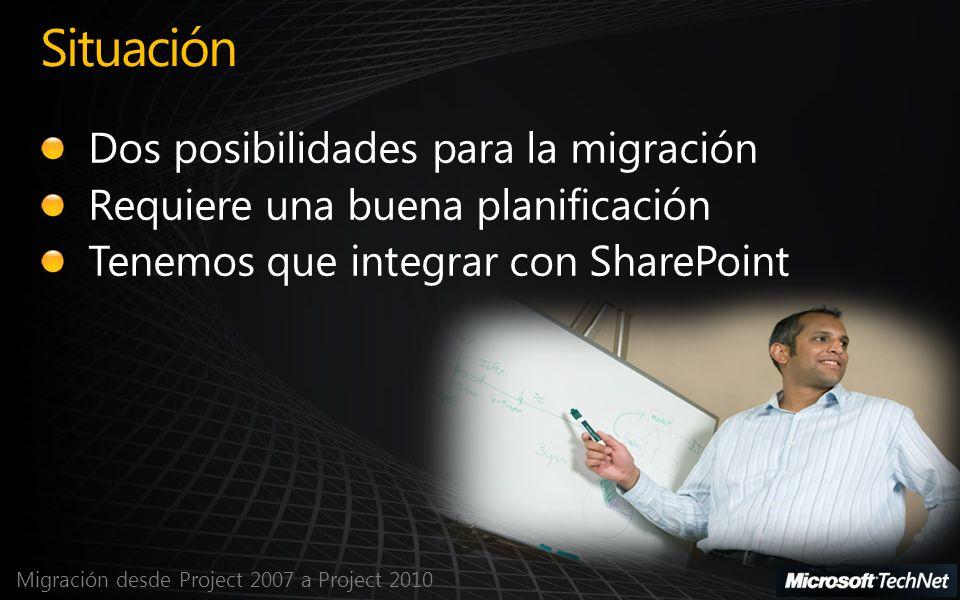 Migración desde Project 2007 a Project 2010 Situación