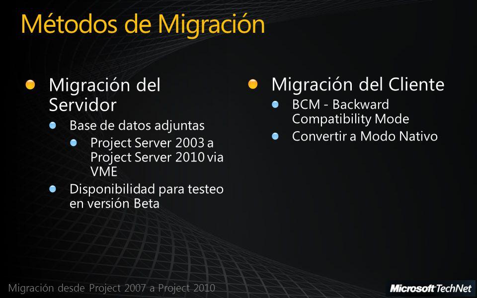 Migración desde Project 2007 a Project 2010 Métodos de Migración