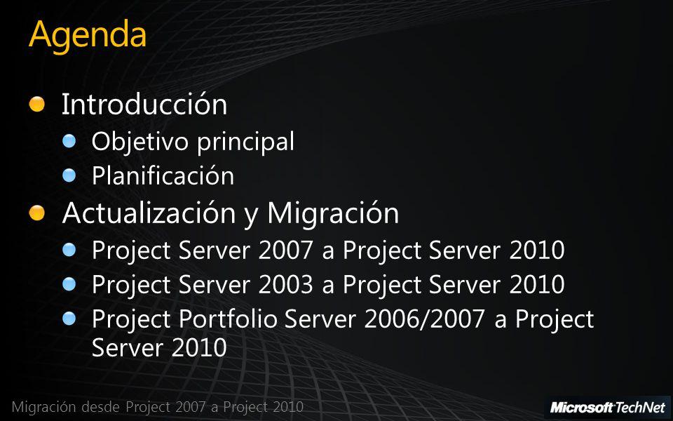 Migración desde Project 2007 a Project 2010 Elementos que no se migrarán