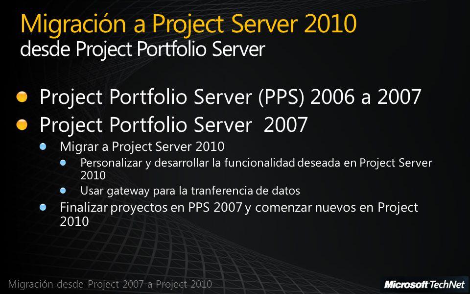 Migración desde Project 2007 a Project 2010 Migración a Project Server 2010 desde Project Portfolio Server