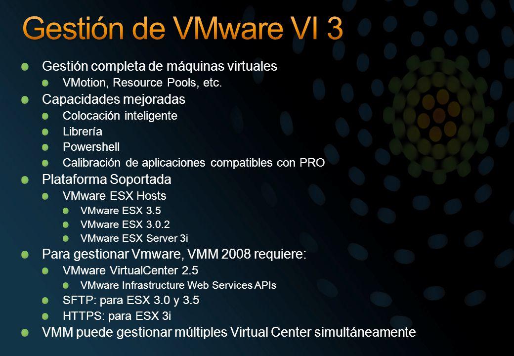 Gestión completa de máquinas virtuales VMotion, Resource Pools, etc. Capacidades mejoradas Colocación inteligente Librería Powershell Calibración de a