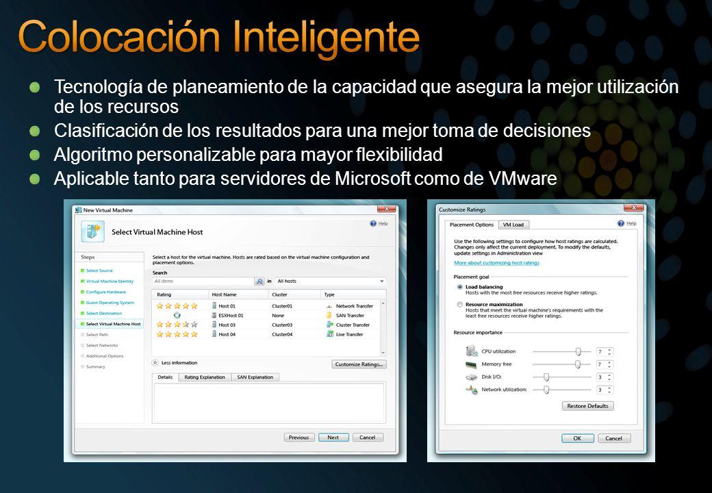 Tecnología de planeamiento de la capacidad que asegura la mejor utilización de los recursos Clasificación de los resultados para una mejor toma de decisiones Algoritmo personalizable para mayor flexibilidad Aplicable tanto para servidores de Microsoft como de VMware