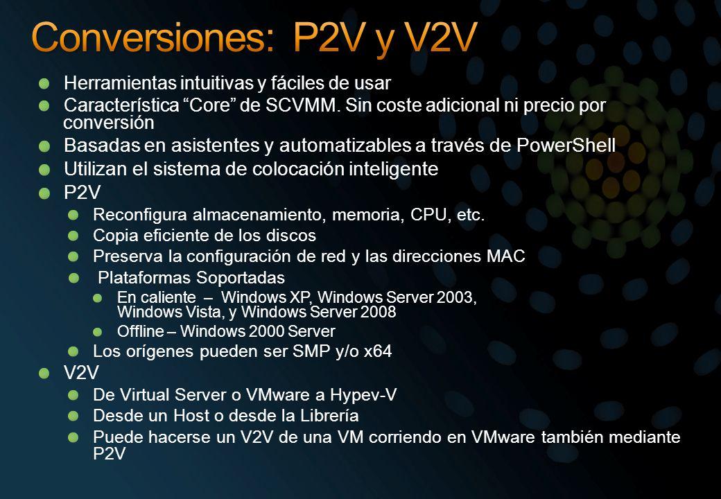 Herramientas intuitivas y fáciles de usar Característica Core de SCVMM.