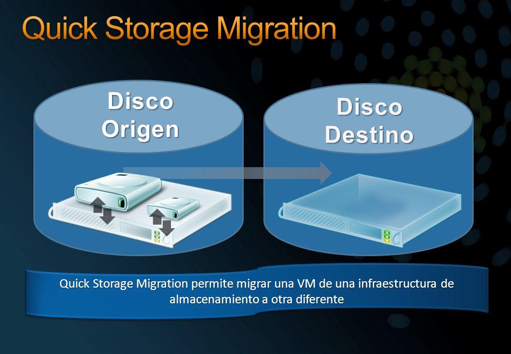 Quick Storage Migration permite migrar una VM de una infraestructura de almacenamiento a otra diferente
