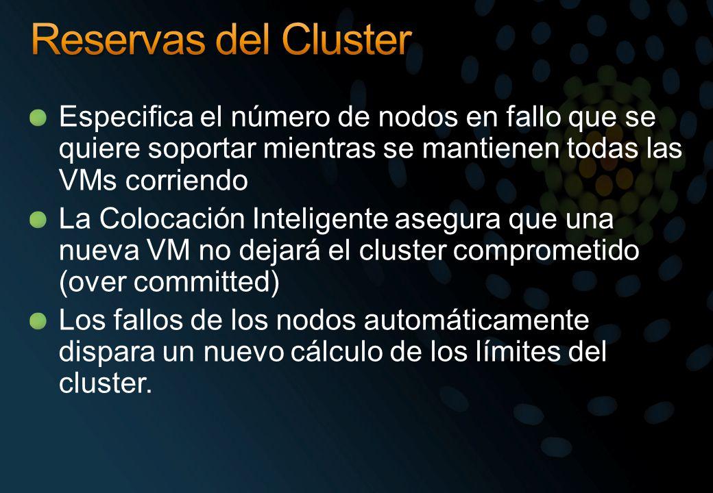 Especifica el número de nodos en fallo que se quiere soportar mientras se mantienen todas las VMs corriendo La Colocación Inteligente asegura que una nueva VM no dejará el cluster comprometido (over committed) Los fallos de los nodos automáticamente dispara un nuevo cálculo de los límites del cluster.