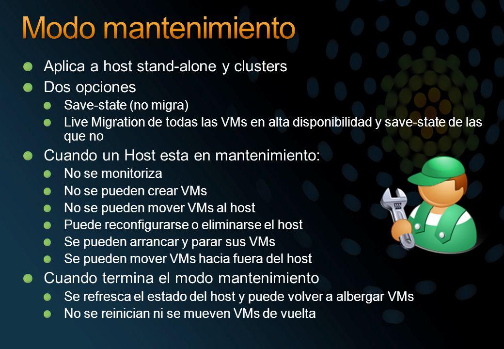 Aplica a host stand-alone y clusters Dos opciones Save-state (no migra) Live Migration de todas las VMs en alta disponibilidad y save-state de las que no Cuando un Host esta en mantenimiento: No se monitoriza No se pueden crear VMs No se pueden mover VMs al host Puede reconfigurarse o eliminarse el host Se pueden arrancar y parar sus VMs Se pueden mover VMs hacia fuera del host Cuando termina el modo mantenimiento Se refresca el estado del host y puede volver a albergar VMs No se reinician ni se mueven VMs de vuelta