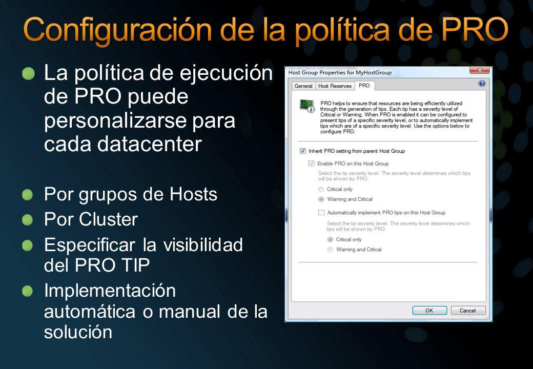 La política de ejecución de PRO puede personalizarse para cada datacenter Por grupos de Hosts Por Cluster Especificar la visibilidad del PRO TIP Implementación automática o manual de la solución