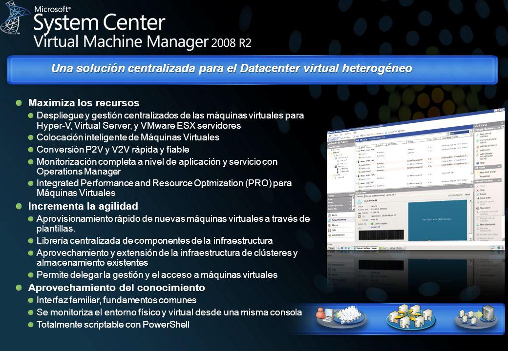 Una solución centralizada para el Datacenter virtual heterogéneo VM VMVM Maximiza los recursos Despliegue y gestión centralizados de las máquinas virt