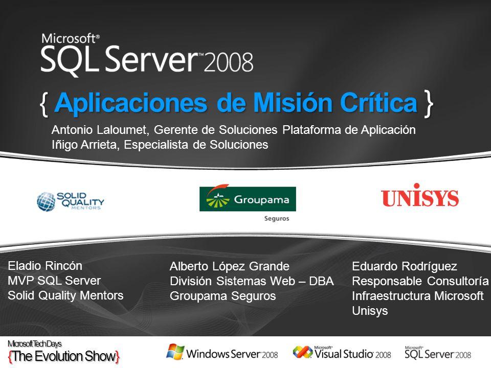 { Aplicaciones de Misión Crítica } Eladio Rincón MVP SQL Server Solid Quality Mentors Alberto López Grande División Sistemas Web – DBA Groupama Seguro