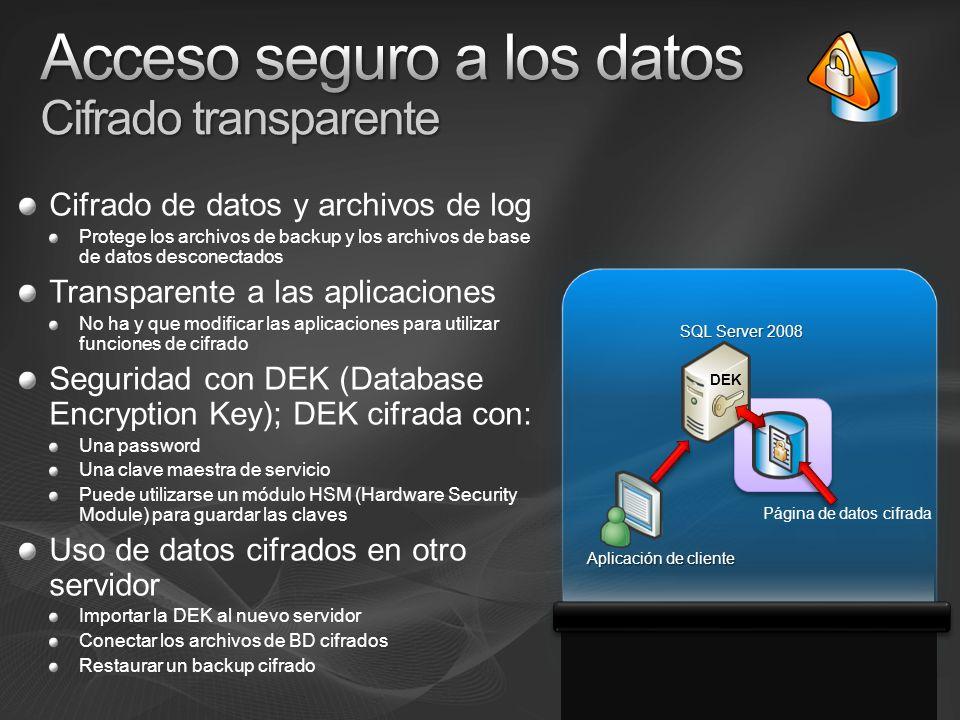 Cifrado de datos y archivos de log Protege los archivos de backup y los archivos de base de datos desconectados Transparente a las aplicaciones No ha