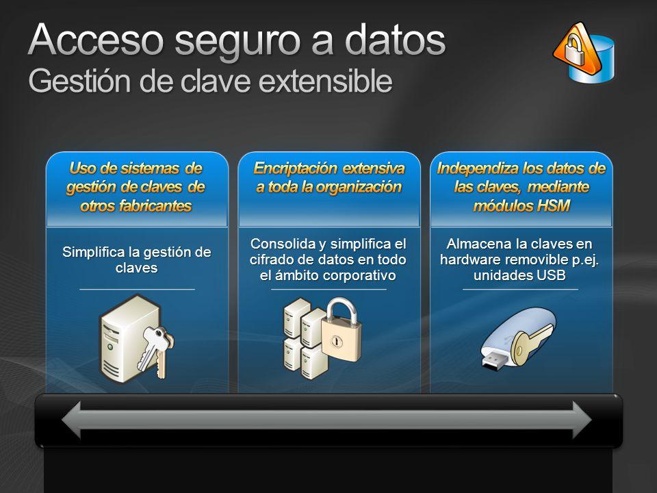 Simplifica la gestión de claves Consolida y simplifica el cifrado de datos en todo el ámbito corporativo Almacena la claves en hardware removible p.ej