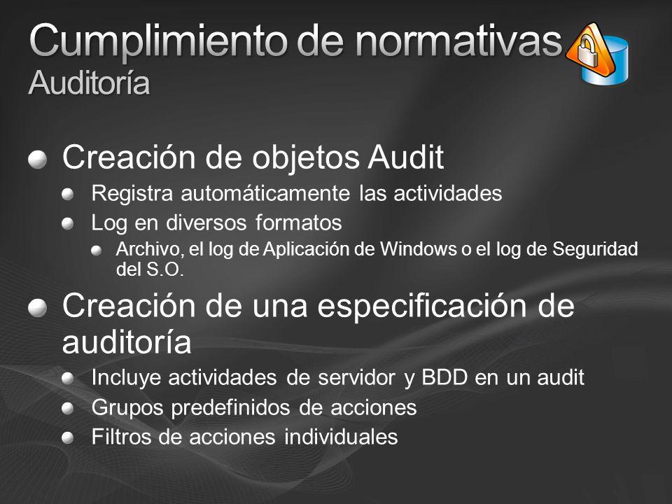 Creación de objetos Audit Registra automáticamente las actividades Log en diversos formatos Archivo, el log de Aplicación de Windows o el log de Segur