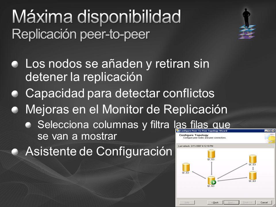 Los nodos se añaden y retiran sin detener la replicación Capacidad para detectar conflictos Mejoras en el Monitor de Replicación Selecciona columnas y filtra las filas que se van a mostrar Asistente de Configuración