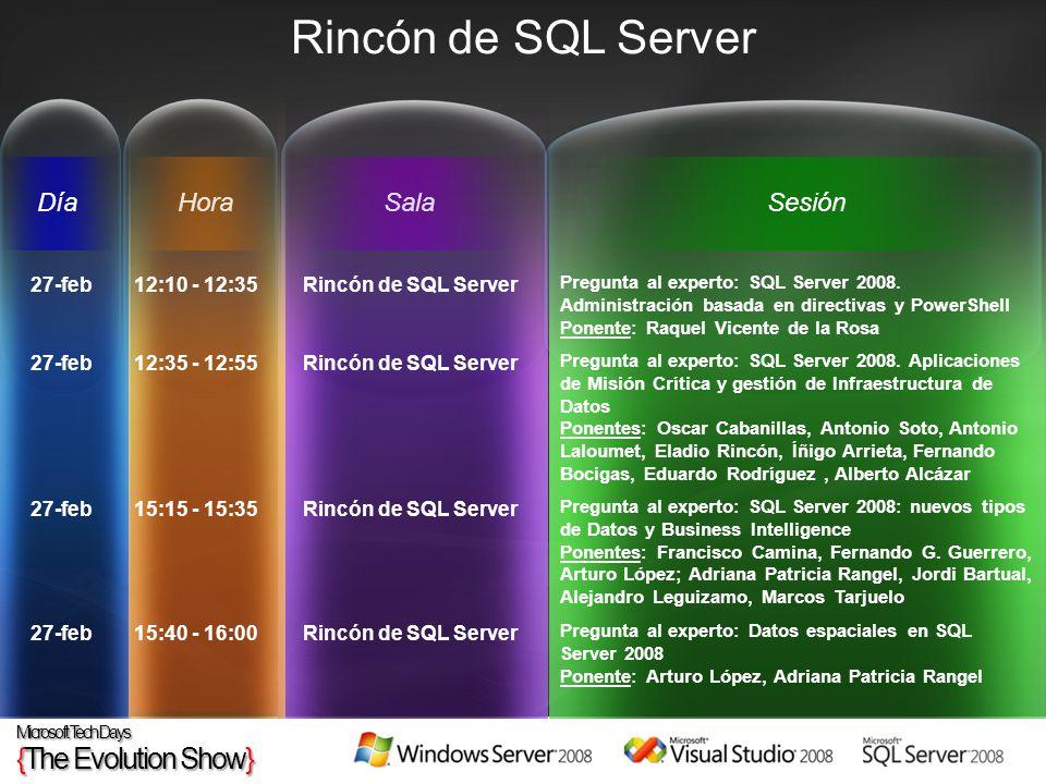 HoraSesiónSalaDía Rincón de SQL Server 27-feb12:10 - 12:35Rincón de SQL Server Pregunta al experto: SQL Server 2008. Administración basada en directiv