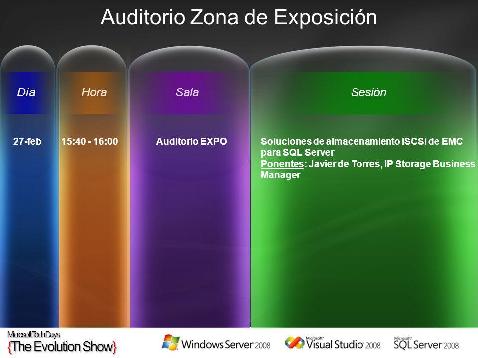 HoraSesiónSalaDía Auditorio Zona de Exposición 27-feb 15:40 - 16:00 Auditorio EXPO Soluciones de almacenamiento ISCSI de EMC para SQL Server Ponentes: