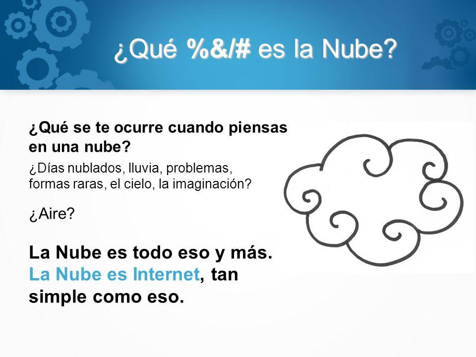 ¿Qué %&/# es la Nube? ¿Qué se te ocurre cuando piensas en una nube? ¿Días nublados, lluvia, problemas, formas raras, el cielo, la imaginación? ¿Aire?