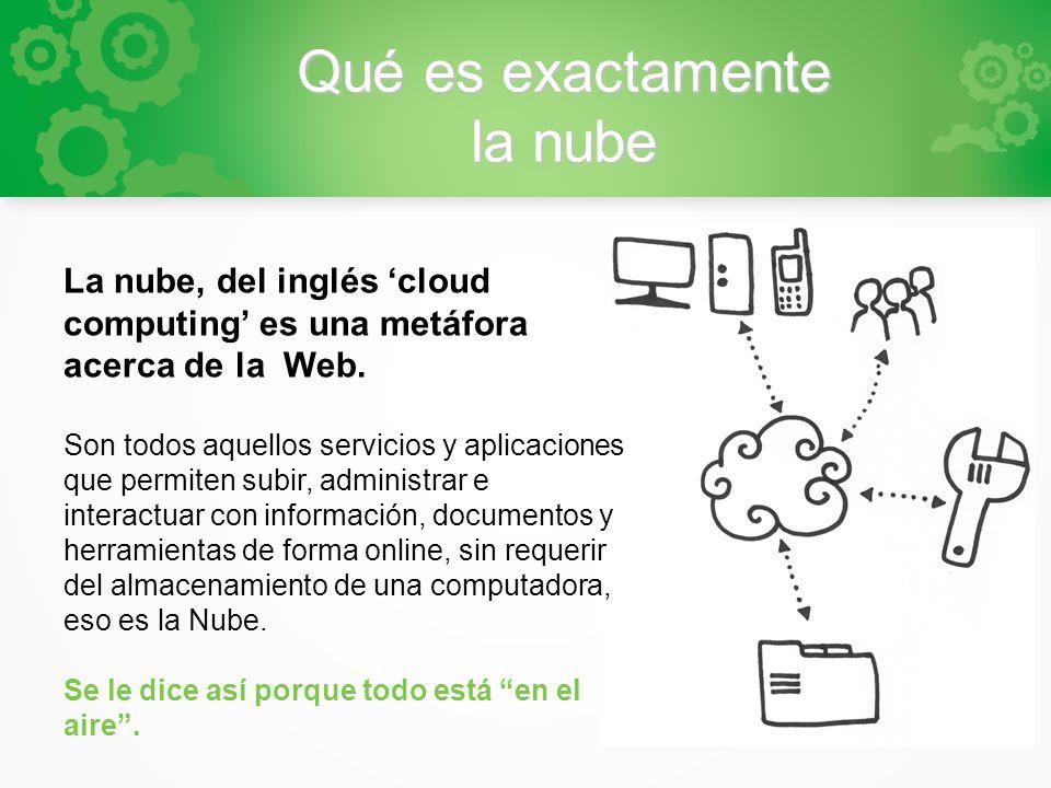 Qué es exactamente la nube La nube, del inglés cloud computing es una metáfora acerca de la Web. Son todos aquellos servicios y aplicaciones que permi