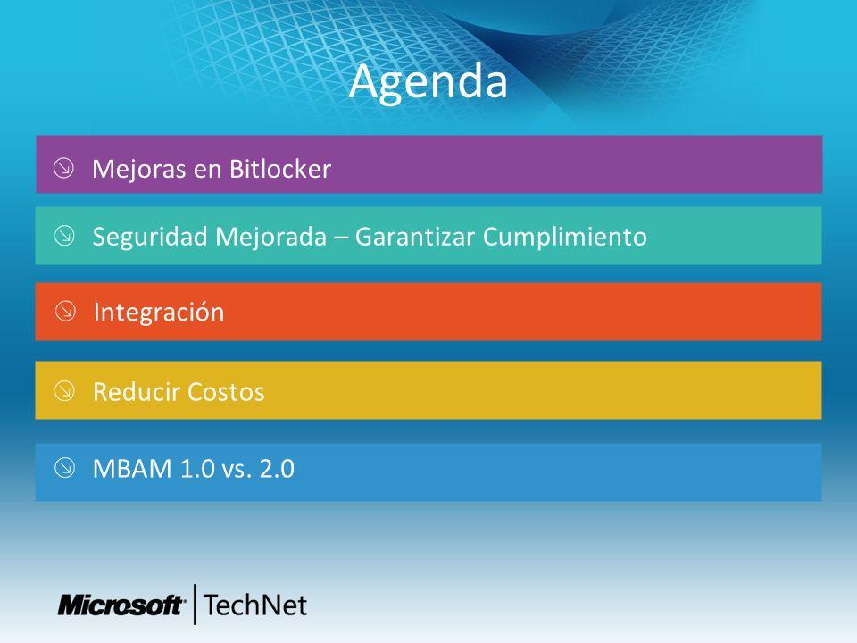 Agenda Integración Mejoras en Bitlocker Reducir Costos Seguridad Mejorada – Garantizar Cumplimiento MBAM 1.0 vs.