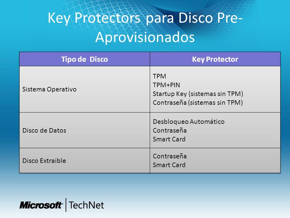 Key Protectors para Disco Pre- Aprovisionados