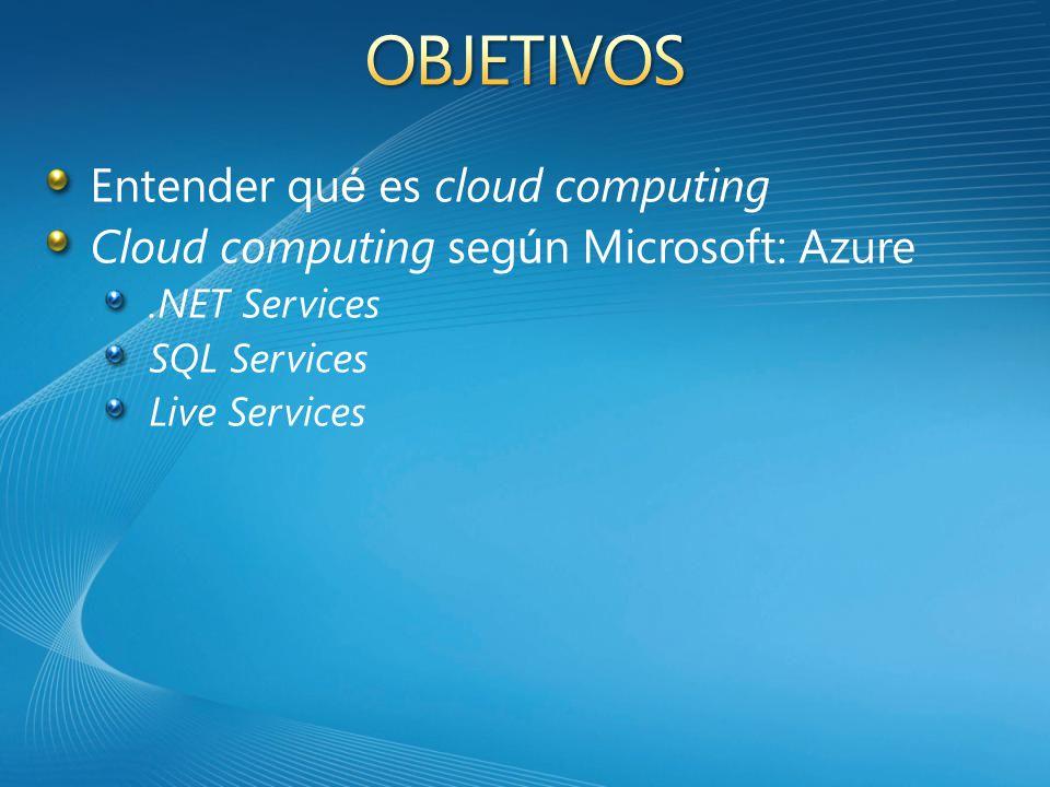 Entender qu é es cloud computing Cloud computing seg ú n Microsoft: Azure SQL Services.NET Services Live Services
