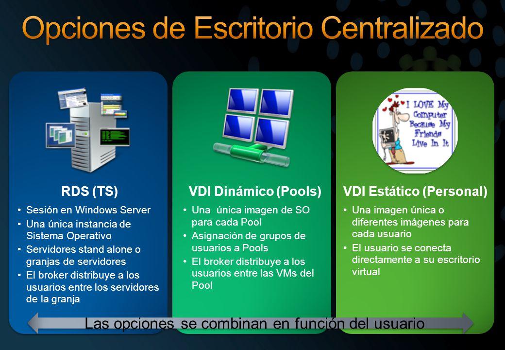 RDS (TS) Sesión en Windows Server Una única instancia de Sistema Operativo Servidores stand alone o granjas de servidores El broker distribuye a los usuarios entre los servidores de la granja VDI Dinámico (Pools) Una única imagen de SO para cada Pool Asignación de grupos de usuarios a Pools El broker distribuye a los usuarios entre las VMs del Pool VDI Estático (Personal) Una imagen única o diferentes imágenes para cada usuario El usuario se conecta directamente a su escritorio virtual Las opciones se combinan en función del usuario