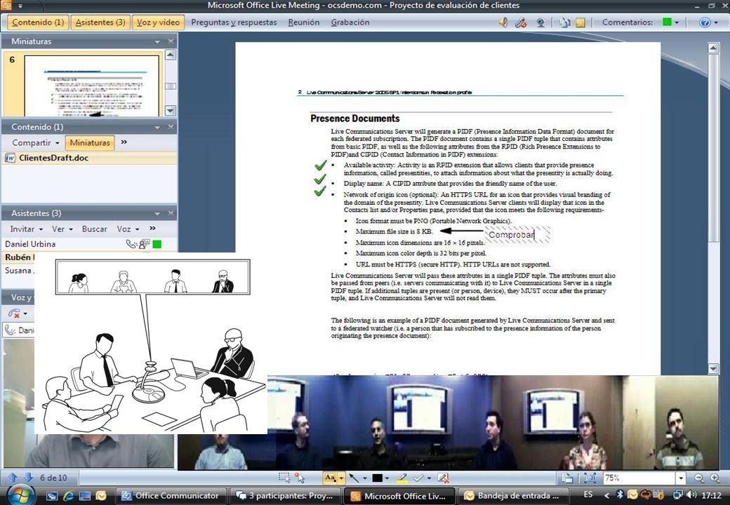Reuniones virtuales inmersivas: Vista del participante que habla y la mesa Sincronización información de conferencia Experiencia innovadora: Grabación y reproducción de reuniones Disponible para cualquier sala de reuniones *