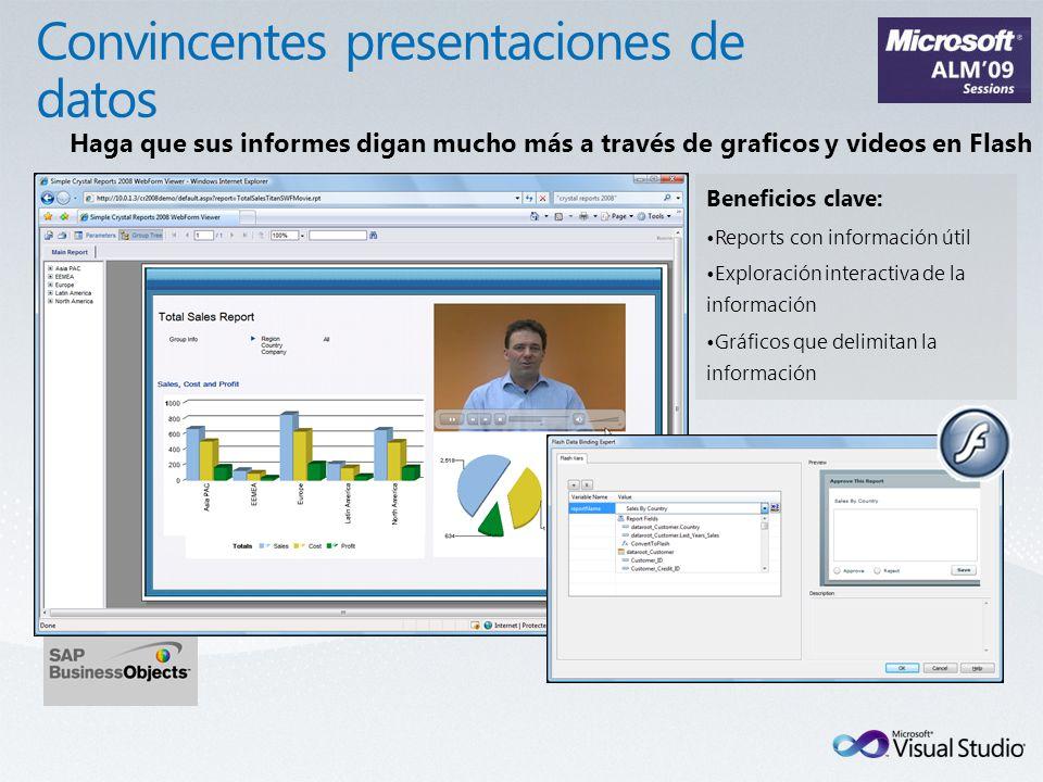 Beneficios clave: Reports con información útil Exploración interactiva de la información Gráficos que delimitan la información Haga que sus informes digan mucho más a través de graficos y videos en Flash