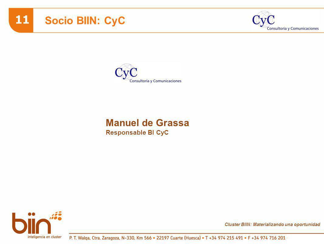 Cluster BIIN: Materializando una oportunidad 11 Socio BIIN: CyC Manuel de Grassa Responsable BI CyC