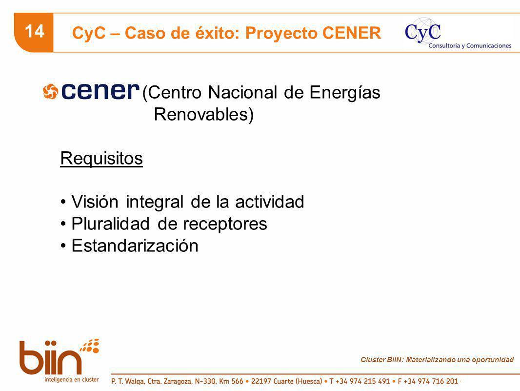 Cluster BIIN: Materializando una oportunidad 14 CyC – Caso de éxito: Proyecto CENER (Centro Nacional de Energías Renovables) Requisitos Visión integral de la actividad Pluralidad de receptores Estandarización