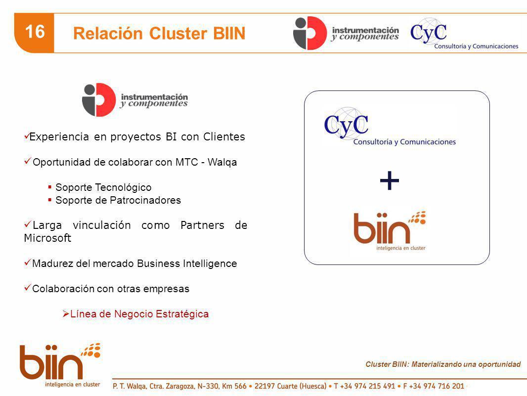 Cluster BIIN: Materializando una oportunidad 16 Relación Cluster BIIN Experiencia en proyectos BI con Clientes Oportunidad de colaborar con MTC - Walqa Soporte Tecnológico Soporte de Patrocinadores Larga vinculación como Partners de Microsoft Madurez del mercado Business Intelligence Colaboración con otras empresas Línea de Negocio Estratégica +