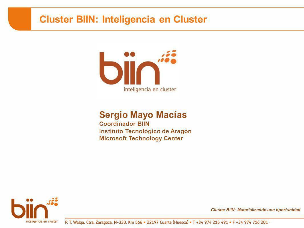 Cluster BIIN: Materializando una oportunidad Cluster BIIN: Inteligencia en Cluster Sergio Mayo Macías Coordinador BIIN Instituto Tecnológico de Aragón Microsoft Technology Center