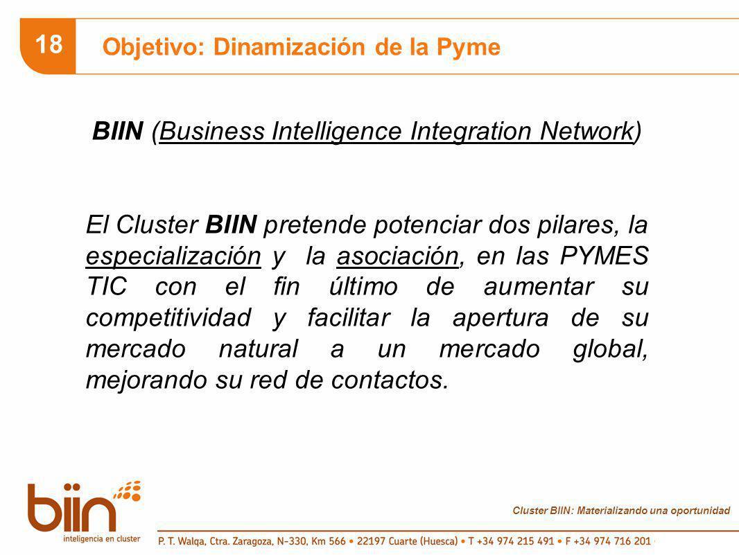 Cluster BIIN: Materializando una oportunidad 18 Objetivo: Dinamización de la Pyme BIIN (Business Intelligence Integration Network) El Cluster BIIN pretende potenciar dos pilares, la especialización y la asociación, en las PYMES TIC con el fin último de aumentar su competitividad y facilitar la apertura de su mercado natural a un mercado global, mejorando su red de contactos.