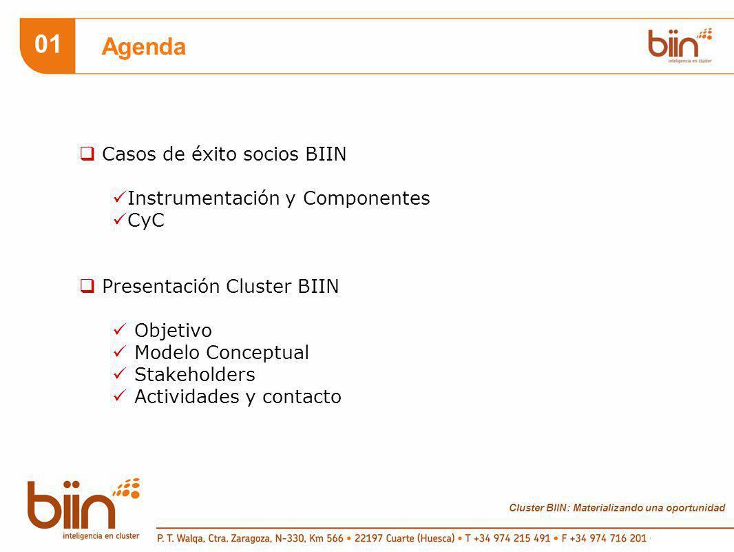 01 Agenda Casos de éxito socios BIIN Instrumentación y Componentes CyC Presentación Cluster BIIN Objetivo Modelo Conceptual Stakeholders Actividades y