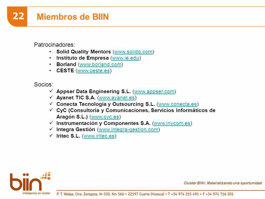 Cluster BIIN: Materializando una oportunidad 22 Miembros de BIIN Patrocinadores: Solid Quality Mentors (www.solidq.com)www.solidq.com Instituto de Empresa (www.ie.edu)www.ie.edu Borland (www.borland.com)www.borland.com CESTE (www.ceste.es)www.ceste.es Socios: Appser Data Engineering S.L.