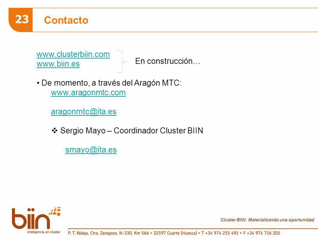 Cluster BIIN: Materializando una oportunidad 23 Contacto www.clusterbiin.com www.biin.es De momento, a través del Aragón MTC: www.aragonmtc.com aragon