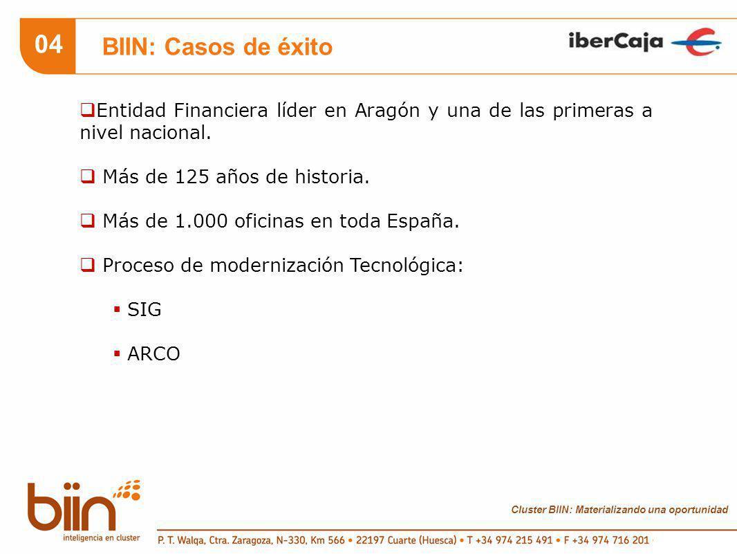 Cluster BIIN: Materializando una oportunidad 04 BIIN: Casos de éxito Entidad Financiera líder en Aragón y una de las primeras a nivel nacional.