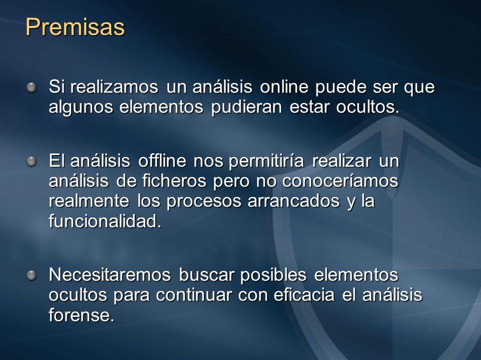 Premisas Si realizamos un análisis online puede ser que algunos elementos pudieran estar ocultos.