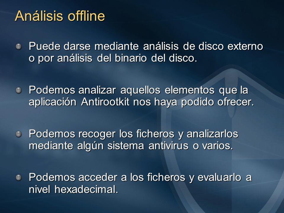 Análisis offline Puede darse mediante análisis de disco externo o por análisis del binario del disco.