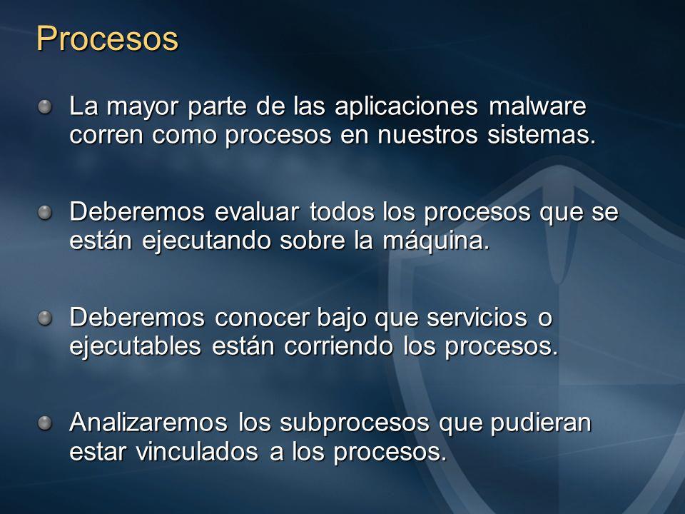 Procesos La mayor parte de las aplicaciones malware corren como procesos en nuestros sistemas.