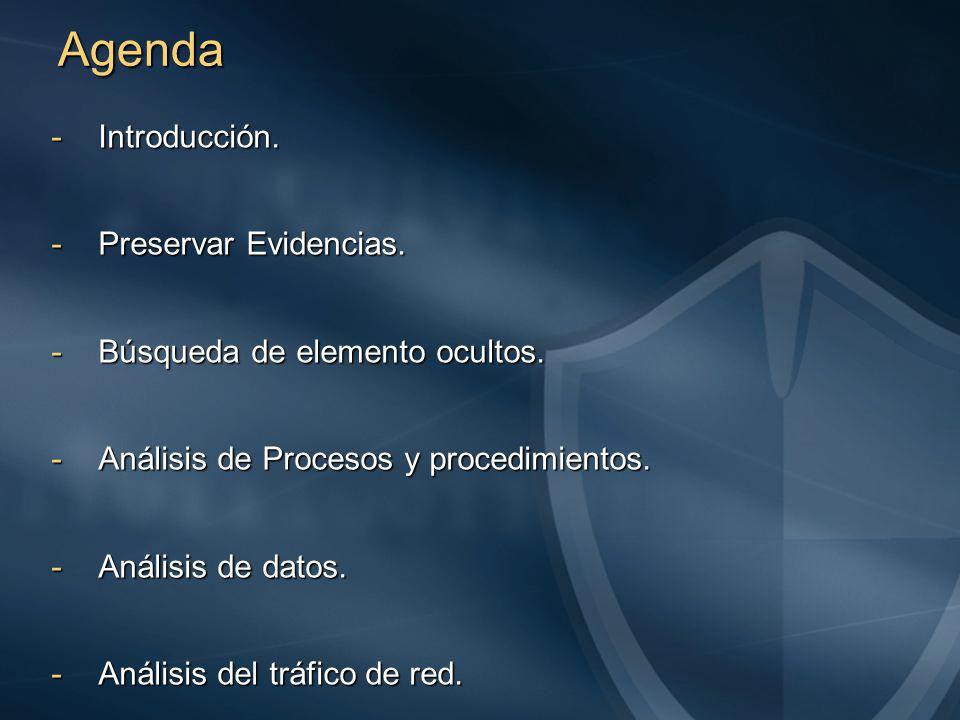Agenda -Introducción. -Preservar Evidencias. -Búsqueda de elemento ocultos.