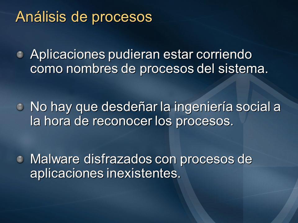 Análisis de procesos Aplicaciones pudieran estar corriendo como nombres de procesos del sistema.
