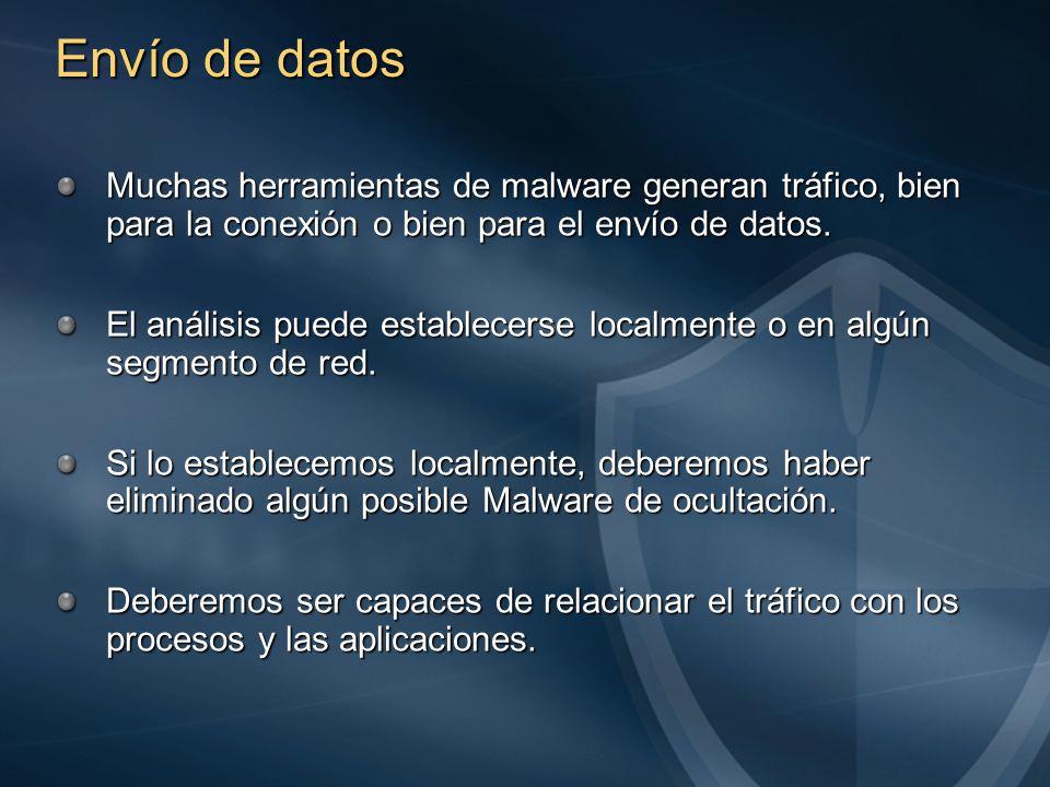 Envío de datos Muchas herramientas de malware generan tráfico, bien para la conexión o bien para el envío de datos.