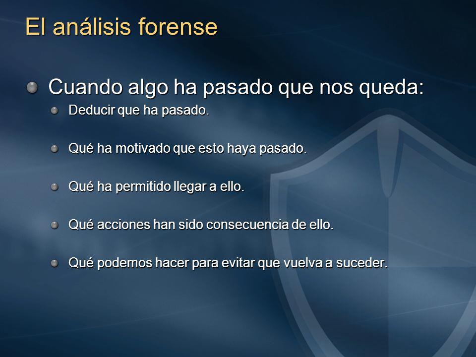 El análisis forense Cuando algo ha pasado que nos queda: Deducir que ha pasado.