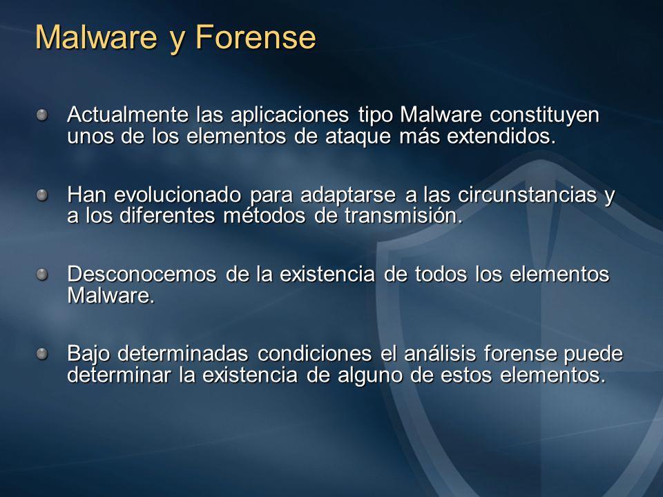 Malware y Forense Actualmente las aplicaciones tipo Malware constituyen unos de los elementos de ataque más extendidos.