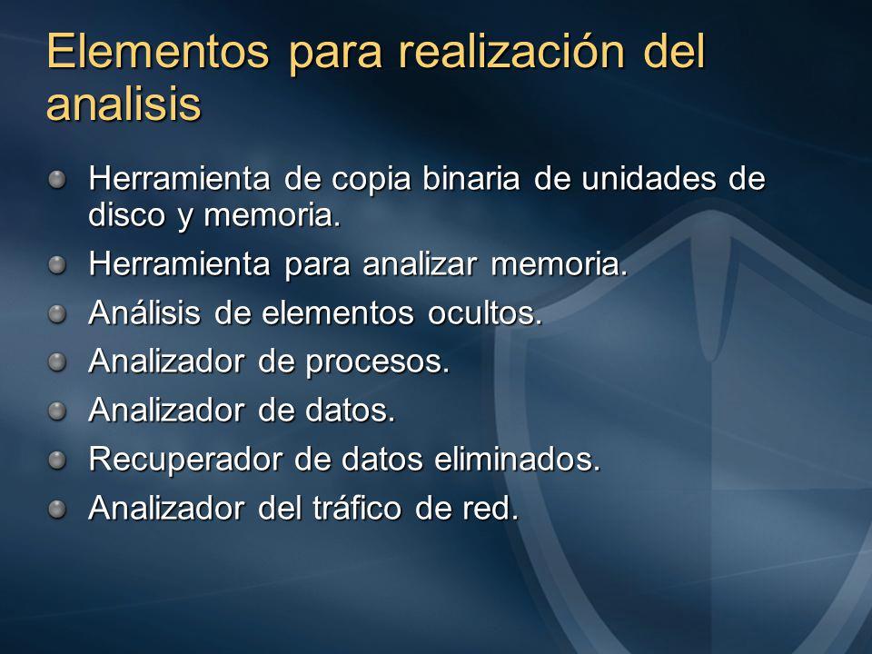 Elementos para realización del analisis Herramienta de copia binaria de unidades de disco y memoria.