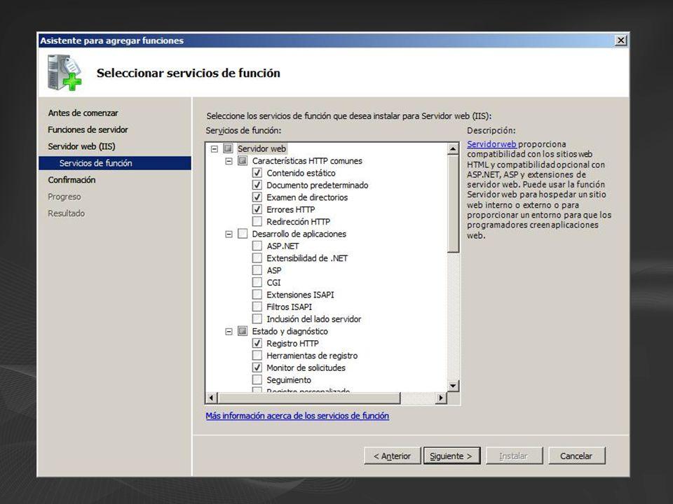 Envio de repuestas LogCompress NTLMBasic Determine Handler CGI Static File ISAPI Autenticación Anon SendResponse Authentication Authorization ResolveCache ExecuteHandler UpdateCache … … La funcionalidad del servidor se divide en ~ 40 módulos...