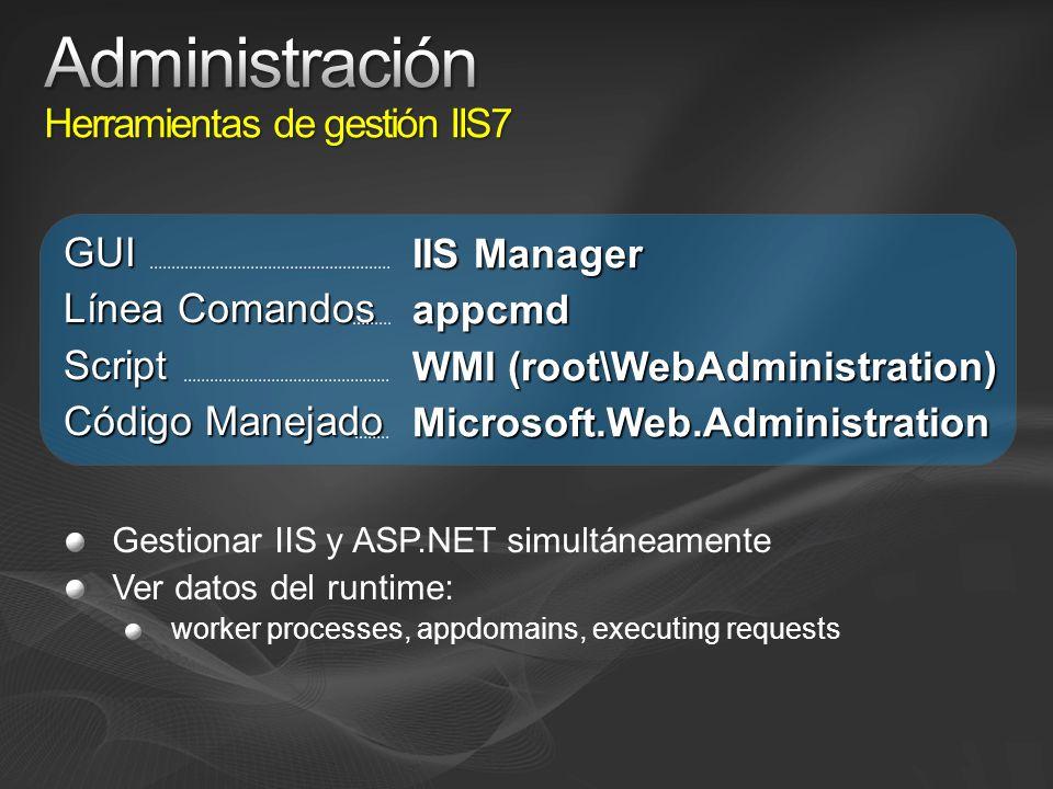 Gestionar IIS y ASP.NET simultáneamente Ver datos del runtime: worker processes, appdomains, executing requests GUI Línea Comandos Script Código Manejado IIS Manager appcmd WMI (root\WebAdministration) Microsoft.Web.Administration