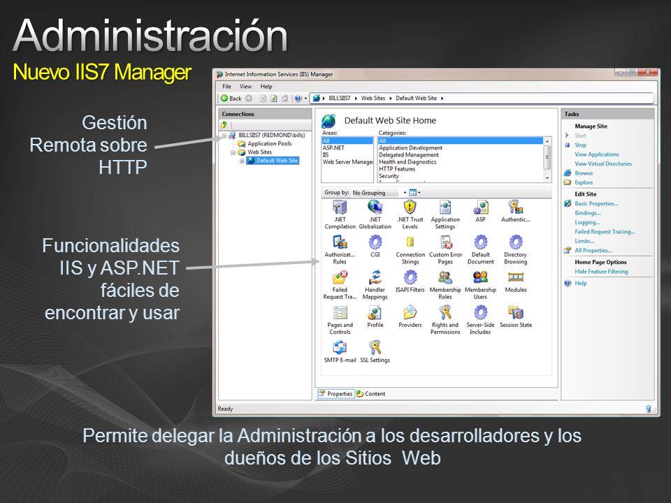 Gestión Remota sobre HTTP Funcionalidades IIS y ASP.NET fáciles de encontrar y usar Permite delegar la Administración a los desarrolladores y los dueños de los Sitios Web