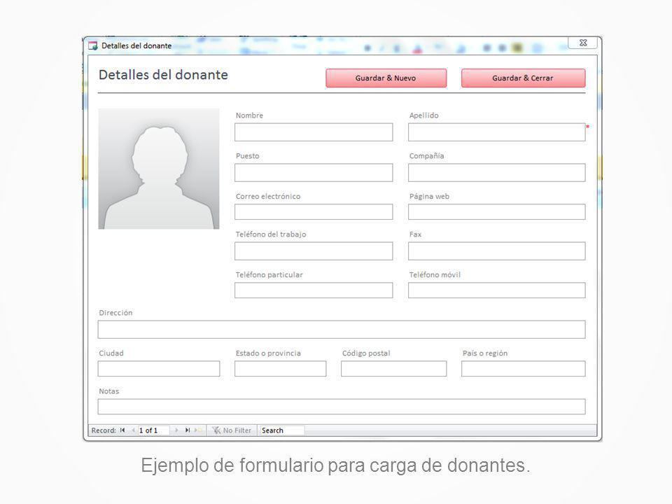 Ejemplos Ejemplo de formulario para carga de donantes.